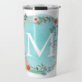 Personalized Monogram Initial Letter M Blue Watercolor Flower Wreath Artwork Travel Mug
