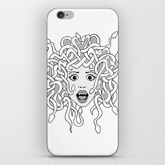 foolish medusa (b&w) iPhone Skin