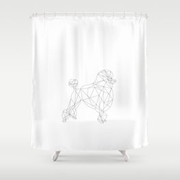 Poodle - white Shower Curtain