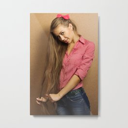 long hair girl Metal Print