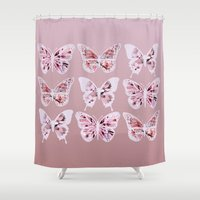 butterflies Shower Curtains featuring Butterflies by Vickn