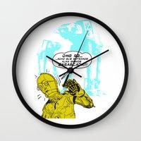 c3po Wall Clocks featuring C3PO Retro by luis pippi