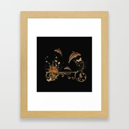 Funny dolphins with flowers Framed Art Print