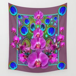 Puce Purple Pink Orchids Blue Peacock Feather Eyes Wall Tapestry