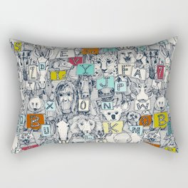 animal ABC indigo multi Rectangular Pillow