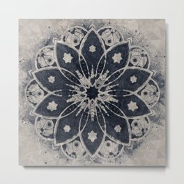 Mandala Blue Bohemian Geometic Abstract Metal Print