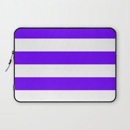 Horizontal Stripes - White and Indigo Violet Laptop Sleeve