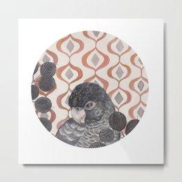 Black Parrot Metal Print