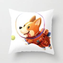 Astronaut Corgi Throw Pillow