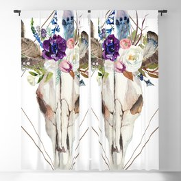 Modern geometric tribal floral bull skull Blackout Curtain