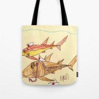 nurse Tote Bags featuring Nurse Sharks by Ryan van Gogh