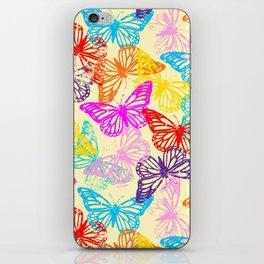 Multicolored Butterflies Pattern iPhone Skin