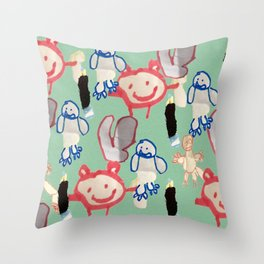 Little Monsters by Brody Throw Pillow