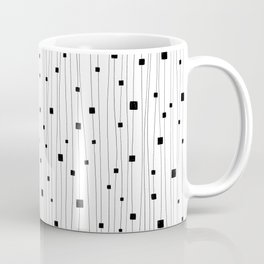Squares and Vertical Stripes - White and Black - Hanging Coffee Mug