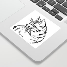 Tabby Cat Black Ink Drawing Sticker