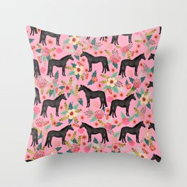 black beauty, mare, horse, horses, floral, florals, black horse, horse bedding, horse decor, cowgirl Throw Pillow