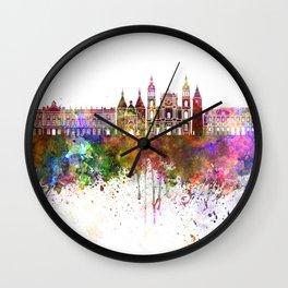 Nancy skyline in watercolor background Wall Clock