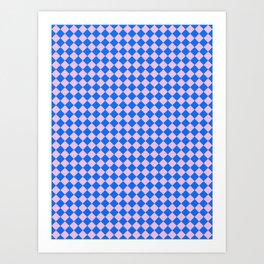 Cotton Candy Pink and Brandeis Blue Diamonds Art Print