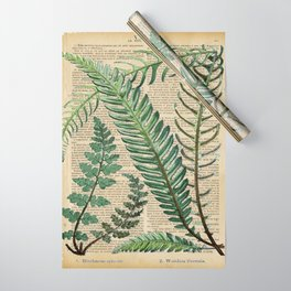 Book Art Page Botanical Leaves Wrapping Paper