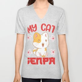 "Cosplaying Shirt For Cosplayers ""My Cat Senpai"" T-shirt Design Manga Otaku Anime Animation Character Unisex V-Neck"