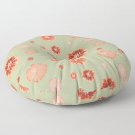 Large floral print on sage green backdrop Floor Pillow