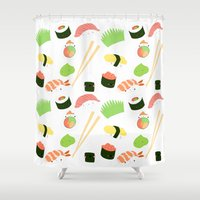 nori Shower Curtains featuring sushi time! by Space Bat designs