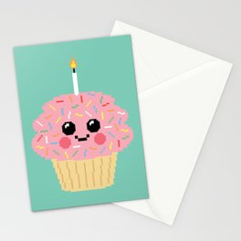 Happy Pixel Cupcake Stationery Cards