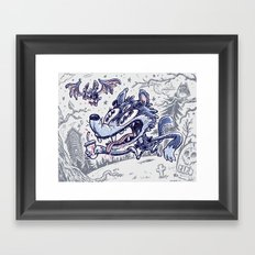 Wolf & bat Framed Art Print