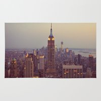 nyc Area & Throw Rugs featuring NYC by Jessica McCourt