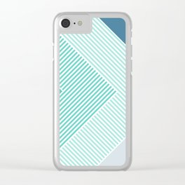 Teal Vibes - Geometric Triangle Stripes Clear iPhone Case