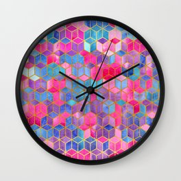 Watercolor Kaleidoscope. Mosaic.Gold background Wall Clock