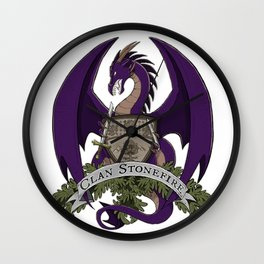 Clan Stonefire Crest - Purple Dragon Wall Clock