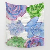 succulents Wall Tapestries featuring Succulents by Kate Havekost Fine Art