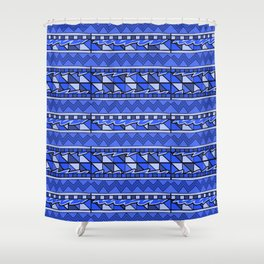 Latin American Pattern Blue. Zigzag Squares Triangle Patterns. Mexican Art. Funky Shower Curtain