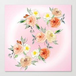 Rosy Watercolour Flower Bouquet Canvas Print