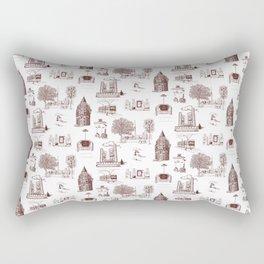 Toronto Toille de jouy - Red and White Rectangular Pillow