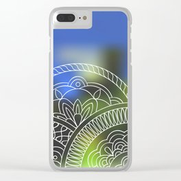 white mandalas on blue Clear iPhone Case
