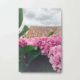 Pink Flowers and Rooftops in Óbidos, Portugal Metal Print