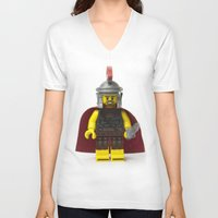 gladiator V-neck T-shirts featuring Roman gladiator Minifig by Jarod Pulo