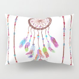 Hand Painted Watercolor Dreamcatcher Beads Feather Pillow Sham