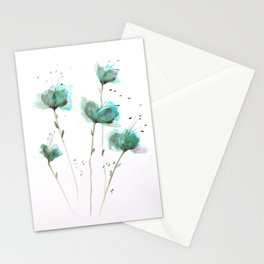 Delicate Cascade Green Blue Watercolor Flowers Stationery Cards