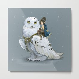 Anaé & Harfang, Winter Fairy and her Snowy Owl  Metal Print