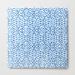 Blue and White, Version #3. Geometric circles. Metal Print