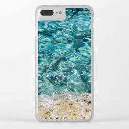 Crystal Blue Ripple Clear iPhone Case