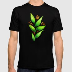 Abstract Watercolor Green Plant With Orange Berries MEDIUM Mens Fitted Tee Black