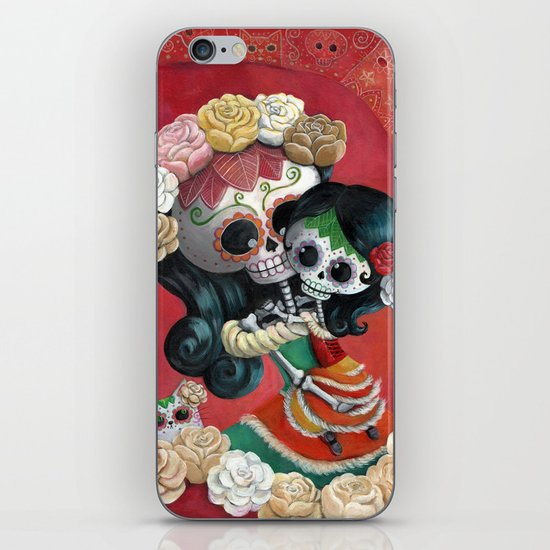 Dia de Los Muertos - Skeleton Mum and Daughter Moment iPhone & iPod Skin
