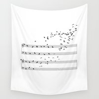 music notes Wall Tapestries featuring Natural Notes by Sokol Selmani