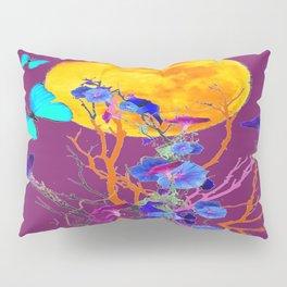 BLUE BUTTERFLIES & MOON WATER GARDEN  REFLECTION Pillow Sham