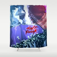 daft punk Shower Curtains featuring Daft Punk by inusualstuff