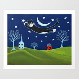 Tuxedo Cat Flying Art Print